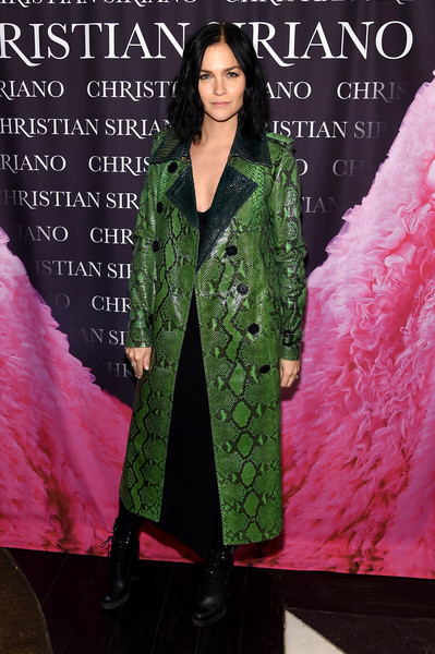 Leigh Lezark walked on the wild side in this green snakeskin coat at the 'Dresses to Dream About' book release.