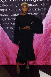 Cynthia Erivo polished off her outfit with a fluted, lace-panel skirt, also by Christian Siriano.