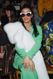 Cardi B showed off her unique style with these two-tone cateye sunnies at the Christian Siriano fashion show.