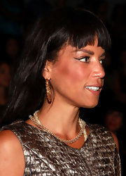 Veronica showed off her gemstone earrings while hitting the Christian Siriano fashion show.