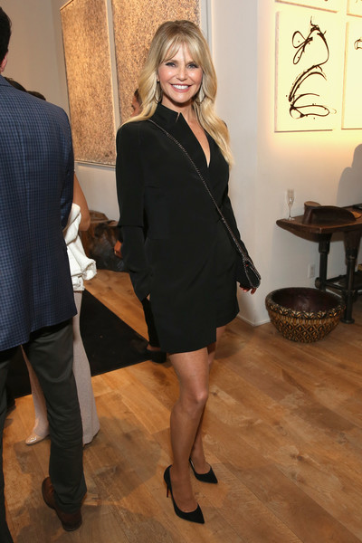Christie Brinkley Romper [clothing,little black dress,fashion,dress,leg,footwear,outerwear,blond,event,cocktail dress,stephan weiss apple awards,new york city,christie brinkley]