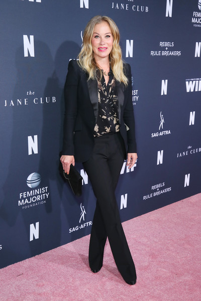 Christina Applegate Pantsuit [fyc netflix event rebels and rule breakers,netflix fysee,raleigh studios,clothing,suit,pantsuit,fashion,carpet,premiere,footwear,outerwear,formal wear,blazer,california,los angeles,christina applegate]