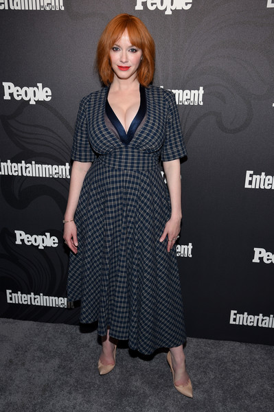 Christina Hendricks Print Dress [clothing,dress,premiere,hairstyle,fashion,little black dress,footwear,carpet,cocktail dress,long hair,arrivals,good girls,christina hendricks,new york city,the bowery hotel,people new york,entertainment weekly,people new york,celebration]