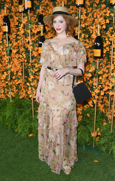 Christina Hendricks Print Dress [clothing,lady,fashion,dress,fashion design,gown,plant,costume design,haute couture,costume,arrivals,christina hendricks,los angeles,pacific palisades,california,will rogers state historic park,veuve clicquot polo classic]