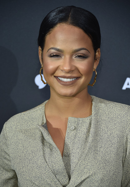 Christina Milian Dark Lipstick [hair,face,eyebrow,hairstyle,beauty,chin,lip,smile,forehead,black hair,christina milian,newfront 2016,seaport district nyc,new york city,aol]