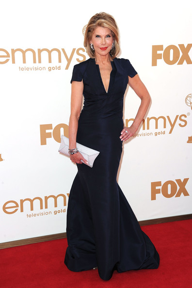 Christine Baranski Evening Dress [red carpet,dress,clothing,carpet,shoulder,hairstyle,flooring,gown,fashion,premiere,arrivals,christine baranski,primetime emmy awards,california,los angeles,nokia theatre l.a. live,annual primetime emmy awards]