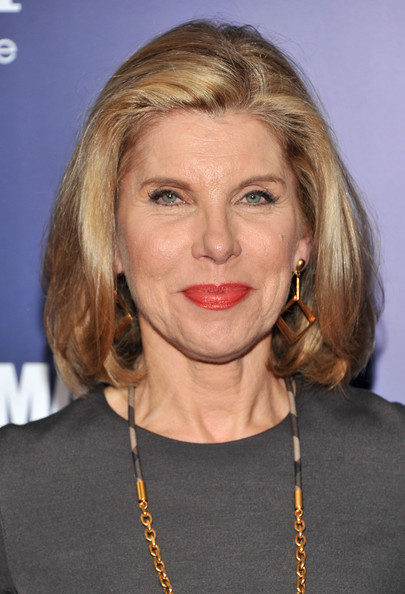 Christine Baranski Bob [the ides of march,the ides of march,hair,face,blond,hairstyle,chin,eyebrow,lip,layered hair,long hair,feathered hair,inside arrivals,christine baranski,new york,ziegfeld theater,premiere]