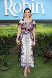 Hayley Atwell dazzled in a sequined cold-shoulder dress by Mary Katrantzou at the European premiere of 'Christopher Robin.'