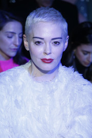 Rose McGowan sat front row at the Chromat fashion show wearing a cool pixie cut.