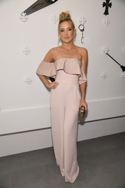 Kate Hudson wore a pale pink wide legged jumpsuit by Paper London to Chrome Hearts celebrates The Miami Project during Art Basel.