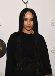 Zoe Kravitz wore her hair in super long braids at Chrome Hearts celebrates The Miami Project during Art Basel.