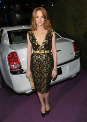 Jayma Mays was perfectly poised in black satin platform pumps.