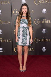 Sierra Furtado attended the Hollywood premiere of 'Cinderella' wearing a cute net-overlay mini dress.