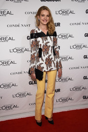 Natalia Vodianova opted for a Louis Vuitton floral jacket with black leather accents for her Glamour Women of the Year Awards look.