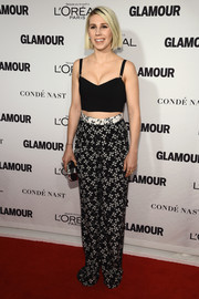 Zosia Mamet joined the sexy crop-top bandwagon with this low-cut black number during the Glamour Women of the Year Awards.