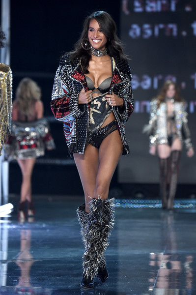 Cindy Bruna Studded Boots [fashion show,fashion model,fashion,runway,clothing,thigh,performance,public event,beauty,model,cindy bruna,victorias secret fashion show,shanghai - show,shanghai,runway,china,mercedes-benz arena]