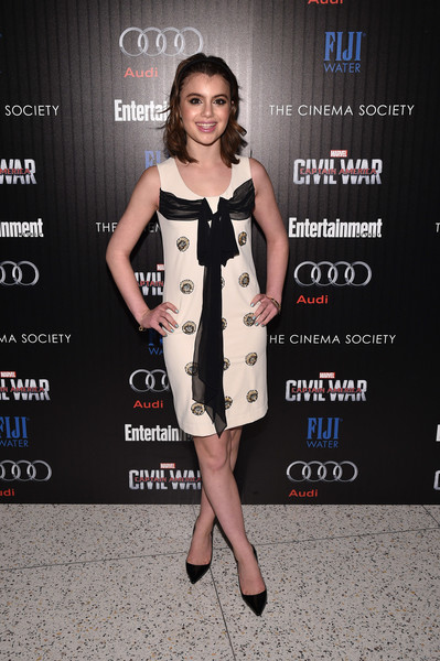 Sami Gayle attended a screening of 'Captain America: Civil War' wearing a vintage-chic mini dress with ribbon detailing.
