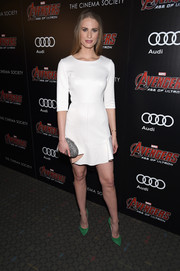 Julie Henderson chose a simple white fluted-hem mini dress for the 'Avengers: Age of Ultron' screening.