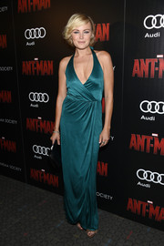 Malin Akerman brought major sex appeal to the 'Ant-Man' screening with this low-cut teal faux-wrap gown.