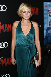 Malin Akerman paired a printed clutch with a faux-wrap dress for the screening of 'Ant-Man.'