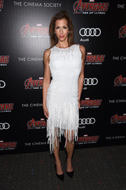 Alysia Reiner donned a distressed-chic fringed LWD for the 'Avengers: Age of Ultron' screening.