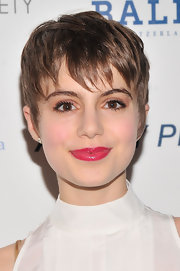 Sami Gayle's bright fuchsia lips brought out the pink in her cheeks and the copper of her eye shadow.