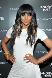 Ciara pulled off a sleek minimalist look for the screening of 'Hangover Part 2.' She added a little gleam to her look with an arm full of gold bangles.