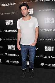 Zachary Quinto rocked a basic white tee and jeans at the 'Shadow Dancer' screening in NYC.