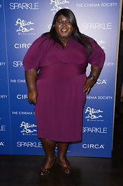 Gabourey opted for a bright plum hue at the 'Sparkle' premiere in NYC.