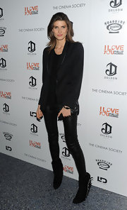 Michelle wore her favorite leather leggings with a black blazer for the screening of 'I Love You Phillip Morris.'