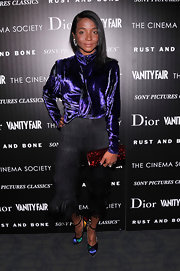 Genevieve Jones looked trendy in color-block pumps at the Cinema Society screening of 'Rust And Bone.'