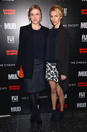 Greta Gerwig went for a subdued business-like look with a baggy black blazer and a pencil skirt at the 'Mud' screening.