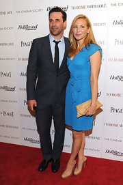 Jennifer Westfeldt look very girly in a ruffled blue wrap dress at the special screening of 'To Rome with Love.'