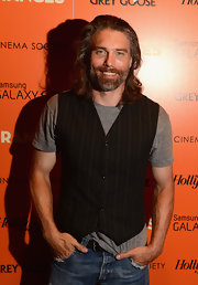 Anson Mount jazzed up a regular gray shirt by topping it with a black pinstriped vest when he attended a screening of 'The Oranges.'