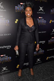 Leslie Jones kept it sleek in a tuxedo at the screening of 'Black Panther.'