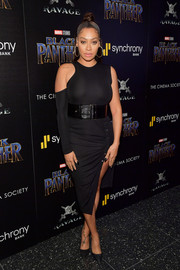 La La Anthony sheathed her figure in an asymmetrical, body-con LBD for the screening of 'Black Panther.'