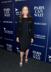 Diane Lane layered a tweed jacket over a little black dress for the New York screening of 'Paris Can Wait.'