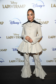 Tessa Thompson got playful with this taupe Loewe top that featured a voluminous peplum waist and an oversized black collar at the special screening of 'Lady and the Tramp.'
