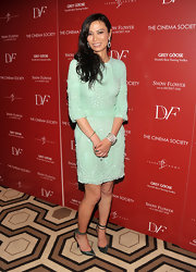 Wendi Murdoch gave her ladylike seafoam dress a sassy finish at the NY screening of 'Snow Flower and the Secret Fan' with pointy green snakeskin pumps with double ankle straps.
