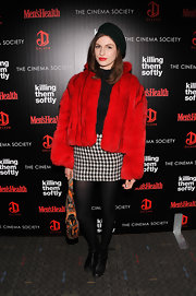 Tali Lennox stayed warm and cozy in a bright red fur coat at a screening of 'Killing Them Softly.'