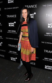 Wendy Deng chose this pink and green print dress for her vibrant evening look at the 'Trance' premiere in NYC.
