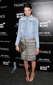 Lily Kwong mixed denim and tweed at the 'Trance' premiere where she sported this light-wash denim jacket over her tweed skirt.