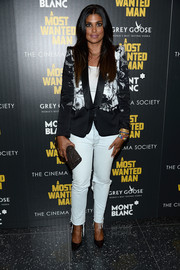 Rachel Roy looked smart in a black-and-white printed blazer during the premiere of 'A Most Wanted Man.'