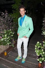 Garrett Neff showed off his love of color with this mint green blazer and sky blue button down.