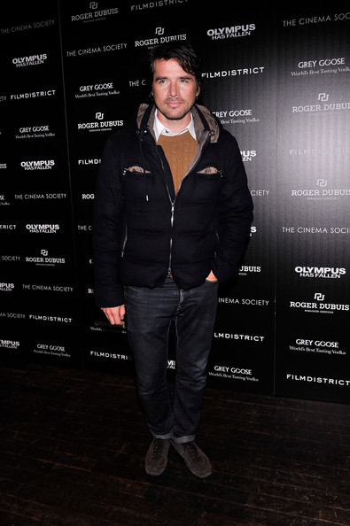 Matthew Settle bundled up in style with this black down jacket.
