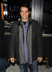 Ralph rocked layers at the 'Brothers' screening, choosing a gray wool scarf to accent his button-down and leather jacket.