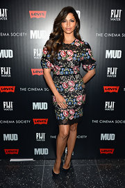A fitted, floral and lace embroidered frock gave Camila Alves a simply stunning red carpet look.