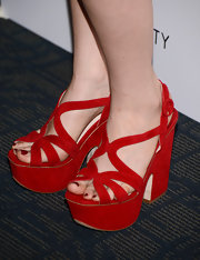 These red, platform sandals were fiery hot on Zosia Mamet.