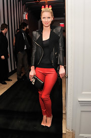 Nicky Hilton chose a cool leather jacket with fur-lined lapels for her edgy evening loo at the premiere of 'Scatter My Ashes.'