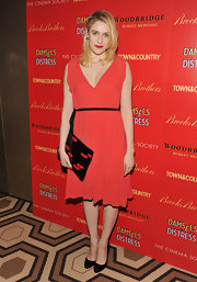 Greta Gerwig went red at the 'Damsel in Distress' screening in this simple cocktail dress.